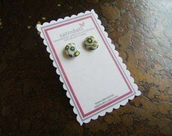 Green Abstract Vintage Japanese Poreclain Gold Plated Stud earrings