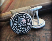 Skull Wax Seal Cuff Links - Remember your Mortality - Life is Short - Live it Well - Graduation Gift for Him