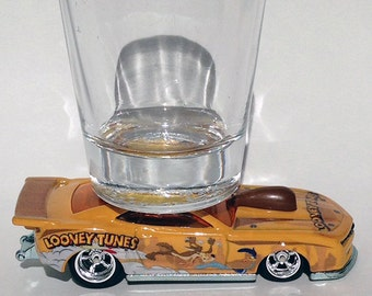 the Original Hot Shot shot glass, Looney Tunes Series, 2010 Pro Stock Camaro, Road Runner & Coyote, Hot Wheel Car