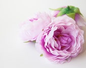 3 Ruffled Ranunculus in Pink and Orchid  - 3 inch size - Soft Silk Artificial Flowers