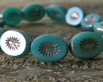 Jade Green Opal Czech Glass 13x10mm Oval Bead  :  6 pc Czech Green 13mm Oval