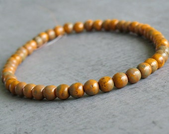 Orange Picasso 4mm Czech Glass Round Druk Bead : 50 pc Full Strand Orange 4mm Druk