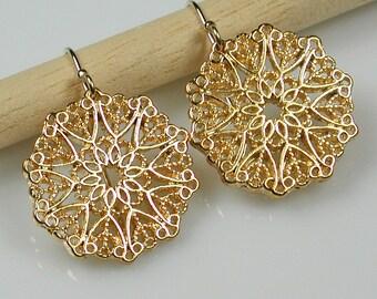 Gold Filigree Mandala Earrings