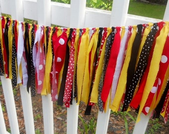 Red Black Yellow Polka Dot Rag Tie Garland Banner Nursery Garland High Chair Bunting Birthday Party Valance Photo Prop