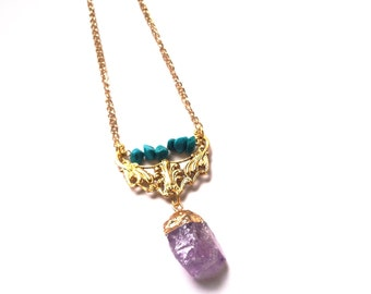 LAST ONE Bohemian Amethyst raw crystal point turquoise semi precious gemstone boho tribal Gold Gem Pendant Necklace