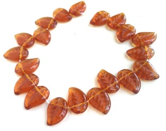 Amber Leaves Beads Czech Glass Autumn Color