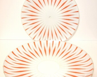 Ceiling mount lamp shades Glass Retro  Orange Diamonds Mid Century design Restoration Architectural