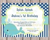 PRINTABLE Whale Birthday Party Invitation  / Royal Blue, Lime Green and Aqua Blue / You Print - 0024