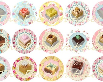 One Inch Petit Four Pins, Magnets or Flatbacks 12ct.