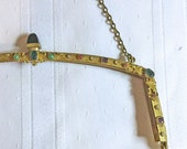 Antique Gold Metal No Sew Beaded Purse Frame with Chain