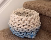 Natural Organic Knit Basket/Bowl with Blue Ombre design