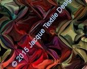 Textile Artist Gorgeous Silky Satin Fabric Fiber Art Rich Abstract Geometric Jewelt Tones