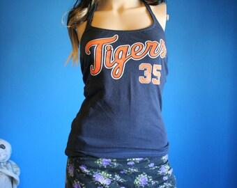 Detroit Tigers Baseball Shirt recycled tshirt Halter Top XXSmall