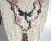 Gemstone Fairy Necklace Set with Glass Beads and Pearls