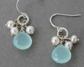 Aqua Chalcedony & White Pearl Cluster Earrings, Gemstone Drop Earrings, Aqua Earrings, Carrie Whelan Designs