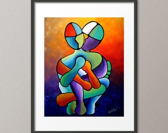 Gallery Canvas and Fine Art Print Figurative People Couples Love Heart Abstract Contemporary Modern Interior Design Home Decor Elena
