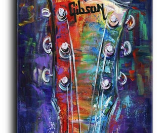 Gallery Canvas and Fine Art Prints Gibson Guitar Musical Instrumental Colorful Elena