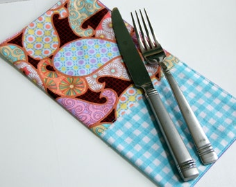 Tyndale Paisley Modern Cloth Bistro Napkins / Amy Butler cloth napkins / blue and brown dining room / check and paisley print pastel napkins