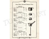 Kitchenware Vintage Art Deco 1920s Central Stamping Co catalogue print cookware household utensils paper ephemera kitchen wall decor no. 7