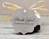 Ornate Scroll Background Thank You Tags -  Hang Tag - Product Packaging - Gift Tag - Wedding - Party