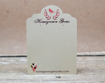 Custom Earring or Necklace Display Cards Personalized with Pink Bird Heart - Laurel Wreath