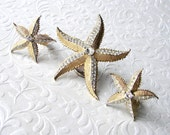 WEISS Rhinestone Starfish Demi Parure Brooch Clip Earrings Beach Wedding Bohemian Chic Bride Gold Tone Bridal Jewelry Accessory Matching Set