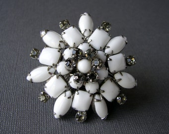 Vintage Milk Glass Brooch Gray Rhinestones Black and White Christmas Wedding Gown Pin Bridal Formal Large Flower Costume Jewelry 1950s