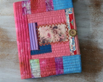 vintage CUPID Music Journal - COMPOSITION Notebook Book Cover - urban gypsy fabric collage