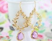 Gold and Lilac Laurel Wreath Earrings, Lilac Glass Gem Earrings, Wedding Earrings, Bridesmaid Earrings, Dangle Earrings, Gift For Woman