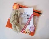 Pygora Crochet Lace Scarf Kit - Lacey Shells - Natural 100% Pygora yarn