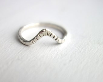 Handmade Sterling Silver Notched Wiggle Ring