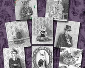 Alice in Wonderland Art Print Set Fairy Tale Art Mad Hatter White Rabbit Fantasy Art 8x10