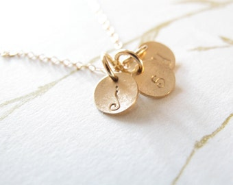 14k solid gold personalized tiny initial disc necklace