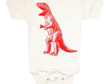 Baby T-REX DINOSAUR Neutral White Bodysuit
