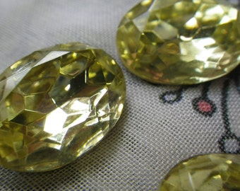 Jonquil Vintage Glass 18x13mm Oval Rhinestones 4 Pcs