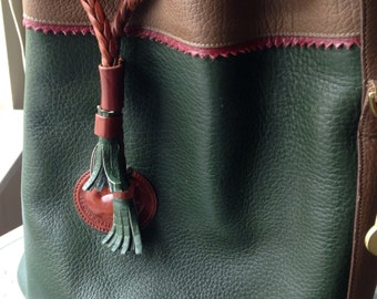 Vintage Dooney and Bourke, Dooney and Bourke Teton Drawstring Bag, Hunter Green, British Tan Piping, All Weather Leather, Bucket Bag