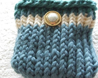 Greens and cream Wool Mini bag