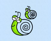 Snail Applique machine embroidery design file in 2 sizes