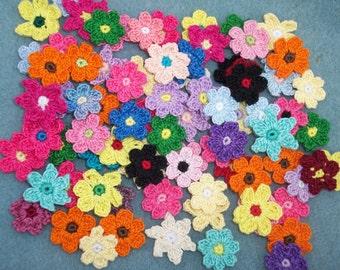 80 handmade cotton crochet applique flower assortment --  1982