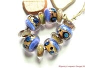 Handmade Boro Beads, Spanky's Lampwork Designs, Glass Beads, Purple Sand Cat Rounds