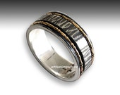 Wedding Band for Men, Mens Wedding band, eternity ring, silver gold band, Mens Ring, spinner ring, rustic mens band - I Love you R2192