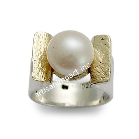 Sterling Silver Gold Ring, Pearl Ring, June Birthstone Ring, Two Tones Ring, Engagement Ring, Twotone Ring Band - Amazon grace R1531A