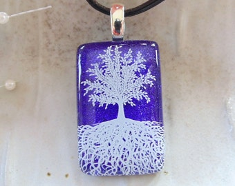 Tree Necklace, Tree of Life Pendant, Dichroic Fused Glass Pendant, Glass Jewelry, Enamel, Necklace Included, Purple Necklace, A7