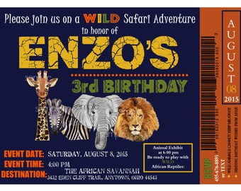 Printable African Safari Invitations,Safari invitations,Jungle invitations,Safari Ticket,Safari Birthday party,Jungle animal invitations,Zoo