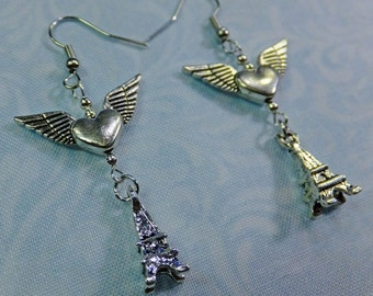 Steampunk Earrings Silvery Winged Heart Charms wtih Eiffel Tower Charms Fish Hook Earwires