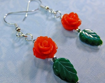 Rose Lover Earrings Bright Red Resin Rose Beads with Green Leaf Beads Dangle