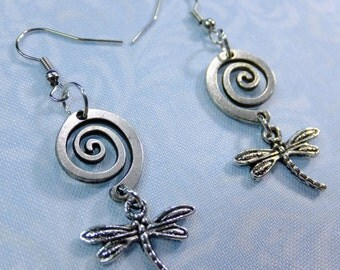 Spiral Flight Dragonfly Pewter Dangle Earrings