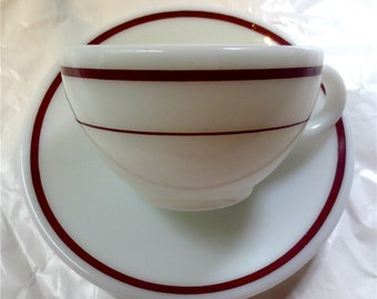 Corning Pyrex Tableware Coffee / Tea Cup and Saucer - Vintage Cafe Restaurantware - White Milk Glass with Royal Burgundy Stripe