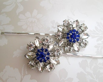 Wedding Hair pins, Blue bobby Pins, Something Blue, hair accessory, blue Hair Clips, Royal Blue, sapphire Blue, Navy Blue