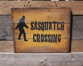 Sasquatch Crossing Sign,Yellow Sasquatch Sign, Bigfoot,
